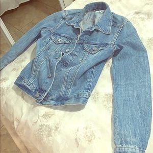 Slightly distressed type style Jean jacket